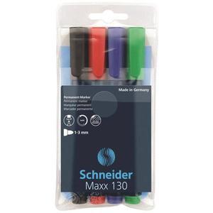 Zestaw markerów uniwersalnych SCHNEIDER Maxx 130 1-3mm 4 szt. miks kolorów - 2881307159
