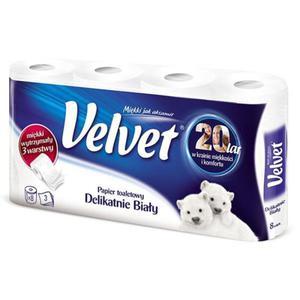 Papier toaletowy VELVET Delikatnie Biały 3w op.8szt. biały - 2881307306