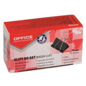 Klipy do dokumentów OFFICE PRODUCTS 15mm 12szt. czarne - 2881307336