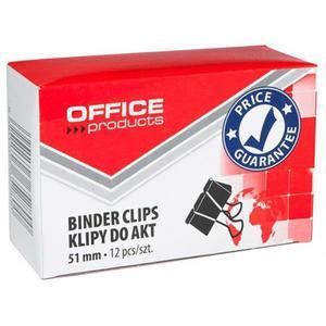 Klipy do dokumentów OFFICE PRODUCTS 51mm 12szt. czarne - 2881307344
