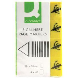 Zakładki indeksujące Q-CONNECT Sign-here, papier, 20x45mm, 4x40 kart., żółty - 2881307785