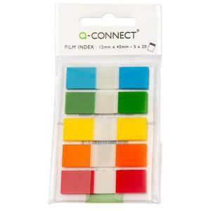 Zakładki indeksujące Q-CONNECT, PP, 12x45mm, 100 kart., zawieszka, mix kolorów - 2881307797