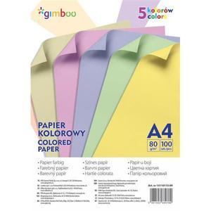 Papier kolorowy GIMBOO A4 100 arkuszy 80gsm 5 kolorów pastelowych - 2881307902