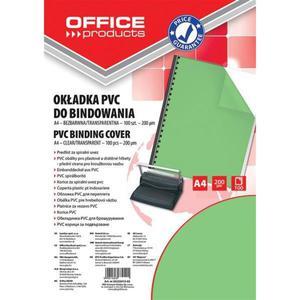 Okładki do bindowania OFFICE PRODUCTS PVC A4 200mikr. 100szt. zielone transparentne - 2881308231