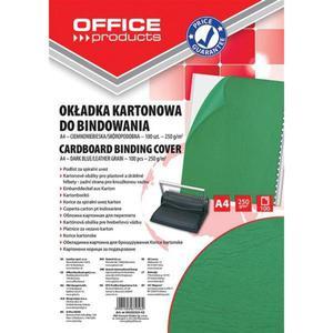 Okładki do bindowania OFFICE PRODUCTS karton A4 250gsm skóropodobne 100szt. zielone - 2881308238
