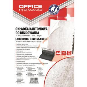 Okładki do bindowania OFFICE PRODUCTS karton A4 250gsm skóropodobne 100szt. białe - 2881308241