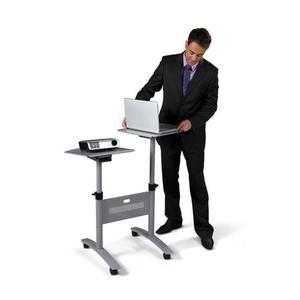 Stolik multimedialny do projekcji NOBO mobilny metalowy dwupoziomowy srebrny - 2883643813