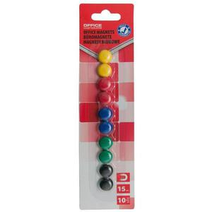 Magnesy do tablic OFFICE PRODUCTS okrągłe 15mm 10szt. blister mix kolorów - 2883646080
