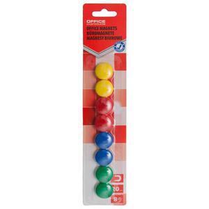 Magnesy do tablic OFFICE PRODUCTS okrągłe 20mm 8szt. blister mix kolorów - 2883646081