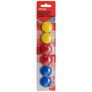 Magnesy do tablic OFFICE PRODUCTS okrągłe 30mm 6szt. blister mix kolorów - 2883646082