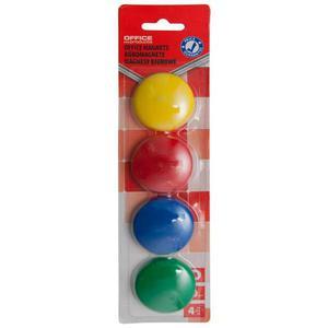 Magnesy do tablic OFFICE PRODUCTS okrągłe 40mm 4szt. blister mix kolorów - 2883646083