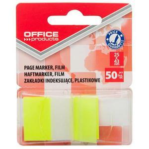 Zakładki index OFFICE PRODUCTS PP 25x43mm 1x50 kart. żółte - 2884982546