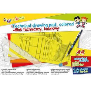 Blok techniczny GIMBOO A4 10 kart. 150gsm mix kolorów - 2891744302