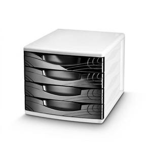 Pojemnik z 4 szufladami CEP Origins - czarny - 2825406849