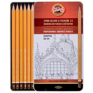 Ołówek KOH-I-NOOR 1502/III zest. w metal.op. 5B-5H - 2847290165
