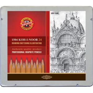Ołówek KOH-I-NOOR 1504 zest. w metal.op. 8B-10H - 2847290166