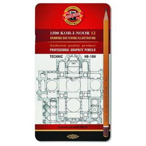 Ołówek KOH-I-NOOR 1502/I zest. w metal.op. HB-10H - 2847290168