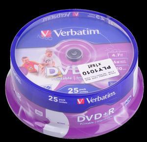 DVD+R VERBATIM 4,7 GB 16X PRINT. FULL FACE CAKE 25szt. - 2837780942