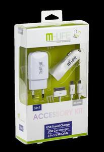 Zestaw M-LIFE ładowarka sieciowa USB 1A ładowarka samochodowa 2.1A Kabel USB 3w1 - 2837783112