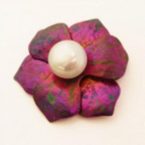 PURPUROWA NASTURCJA zawieszka tytanowa z perłą - 2832991893