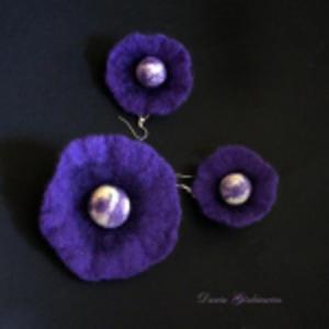 W kremu i fioletu - kolczyki broszka komplet - 2832991596