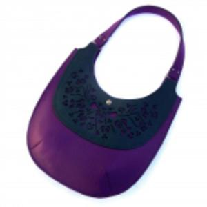 Flower Bag - purple and green - 2832990694