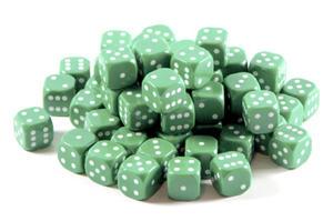 Kostki do gry plastik ekstra - zielona - 100 szt. - 2825161988