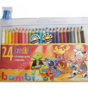 Kredki Bambino w oprawie drewnianej 24 kolory z temperówką