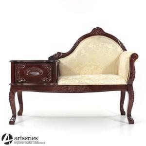 Drewniany fotel tapicerowany ze stolikiem i szufladą 72898