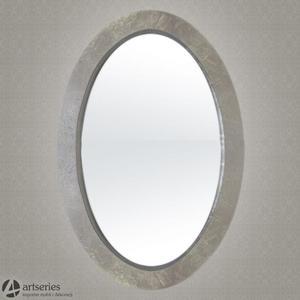 Srebne lustro na ścianę, owalne w drewnianej ramie 69793