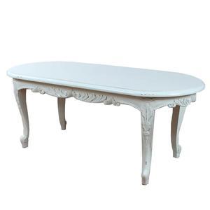Biały, podłużny stolik drewniany, stół kawowy z mahoniu 117185