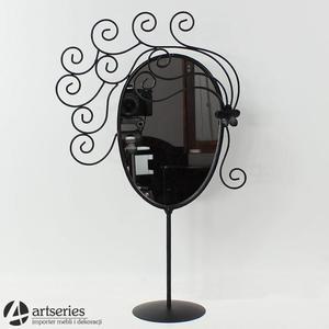 Eleganckie lustro stojące do makijaży w czarnej oprawie 69472 - 2829133396