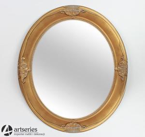 Stylowe lustro w złotej rzeźbionej i owalnej ramie 47580 - 2829133560