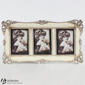 Ramka na trzy zdjęcia 72036 Ecri rzeźbiona srebrna krawędź - 2829133571