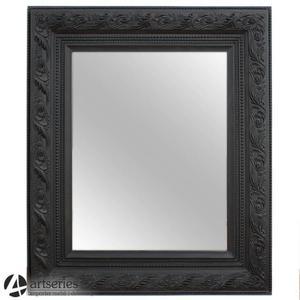 Czarne stylowe lustro 78348 rzeźbiona drewniana piękna rama - 2829133581