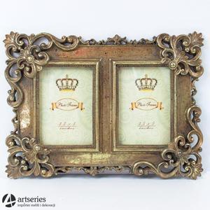 Podwójna ramka na zdjęcia w kolorze postarzanego złota 71154 - 2829133606