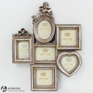 Srebrna wisząca ramka 71150 mieszcząca sześć zdjęć z aniołkiem - 2829133613