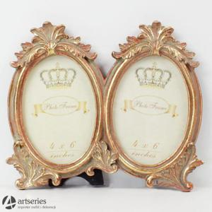 Stylowa ramka na dwie owalne fotografie 68918 kolor złoty - 2829133619