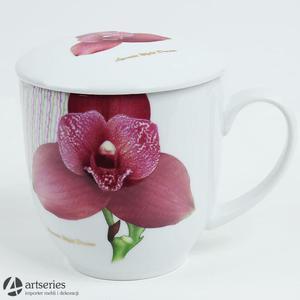 Piękny kubek do parzenia wykonany z białej porcelany 1659907 - 2829133834