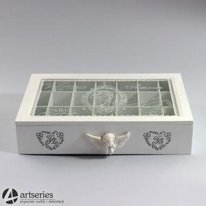 Biała duża herbaciarka 78502 udekorowana aniołkami - 2829133841