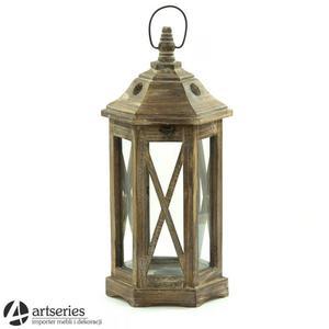 Rustykalna drewniana latarnia 74252m sześciokątny kształt - 2829133858