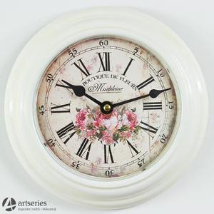 Zegar wiszący o średnicy 21 cm 86098 z kwiatem róży zegarek - 2829133900