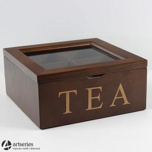 Kwadratowa szaktułka na herbatę 68260 herbaciarka brązowa - 2829133920