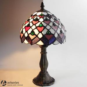 Mała nocna lampka witrażowa stojąca 83946 lampa witraż - 2829133967