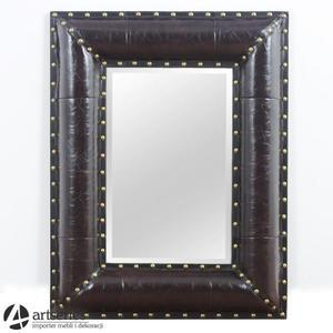 Prostokątne lustro retro w skórzanej stylowej ramie 85684 - 2829133997