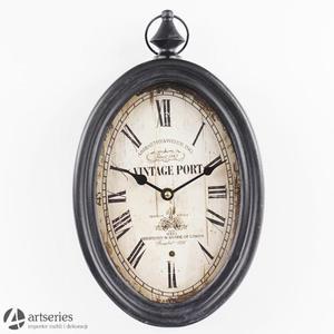 Owalny czarny zegar do powieszenia, 77189 z metalu oraz szk - 2829134006