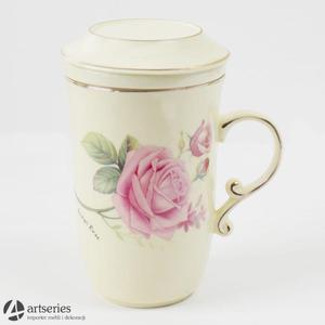 Piękny zaparzacz do herbaty, kubek w róże 2803300 z ceramicznym filtrem - 2829134027