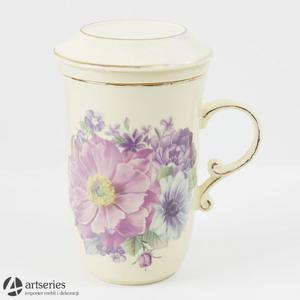 Kubek w kwiaty z ceramicznym zaparzaczem oraz pokrywką 2803301 - 2829134028