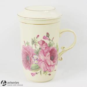 Kubek z ceramicznym zaparzaczem ozdobiony kwiatami róży 2803303 - 2829134030
