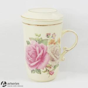 Porcelanowy zaparzacz z filtrem oraz pokrywką 2803304 kwiat róży - 2829134031